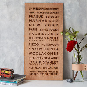 Destination Wooden Anniversary Bus Blind - for the couple
