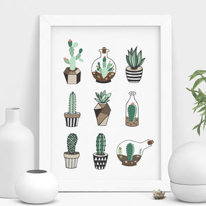 Cactus Print Succulent Terrarium Illustration - summer sale