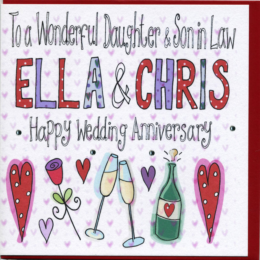 Personalised Daughter Or Son Wedding Anniversary Card By Claire
