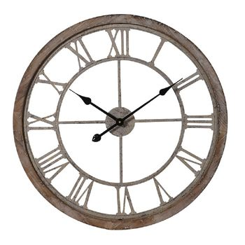 Round Weathered Wood And Metal Wall Clock