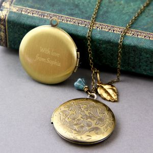 Round Flower Pattern Bronze Locket Necklace