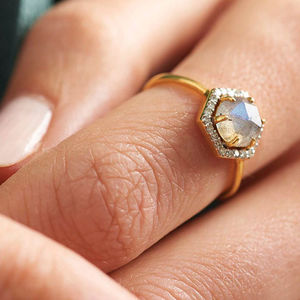 14 K Gold Vermeil Diamond And Moonstone Hexagon Ring