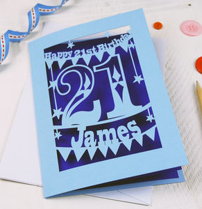 Personalised Papercut 21st Birthday Card - birthday cards