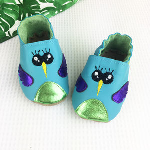 Personalised Turquoise Hummingbird Baby Shoes - shoes & footwear