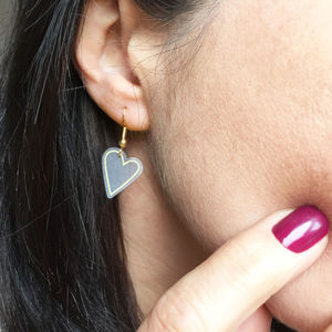 Gold Heart Drop Earrings - earrings