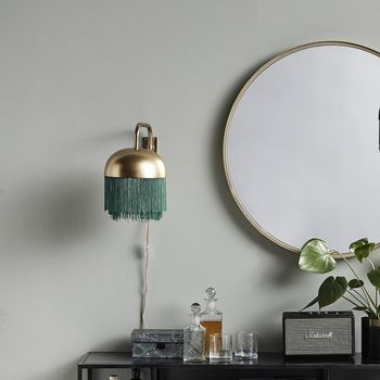 Golden Wall Lamp With Green Fringing
