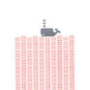 Whale screen print in rose blush and grey