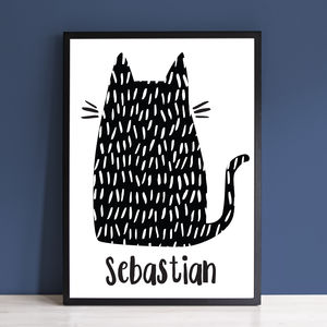 Personalised Kitty Cat Monochrome Print - prints & art sale