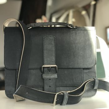 Wiped Black Leather Satchel