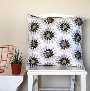 Large Square Mustard Daisy Cushion - bedroom