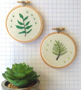 Hand Embroidered Plants Pair Of Wall Hoops - textile art