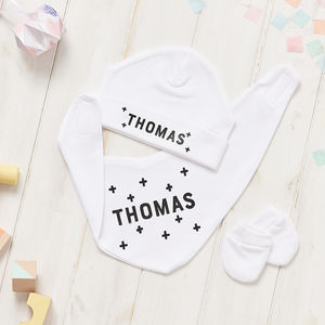 Personalised Scandi Crosses Hat, Bib And Mitt Gift Set - babies' gloves