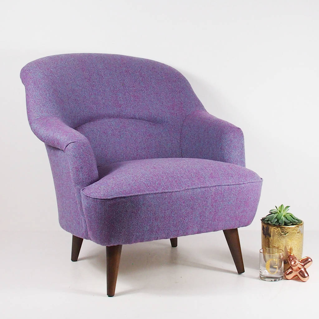 The New Pinta Armchair In Bute Purple Tweed