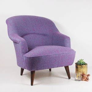 The New Pinta Armchair In Bute Purple Tweed - furniture