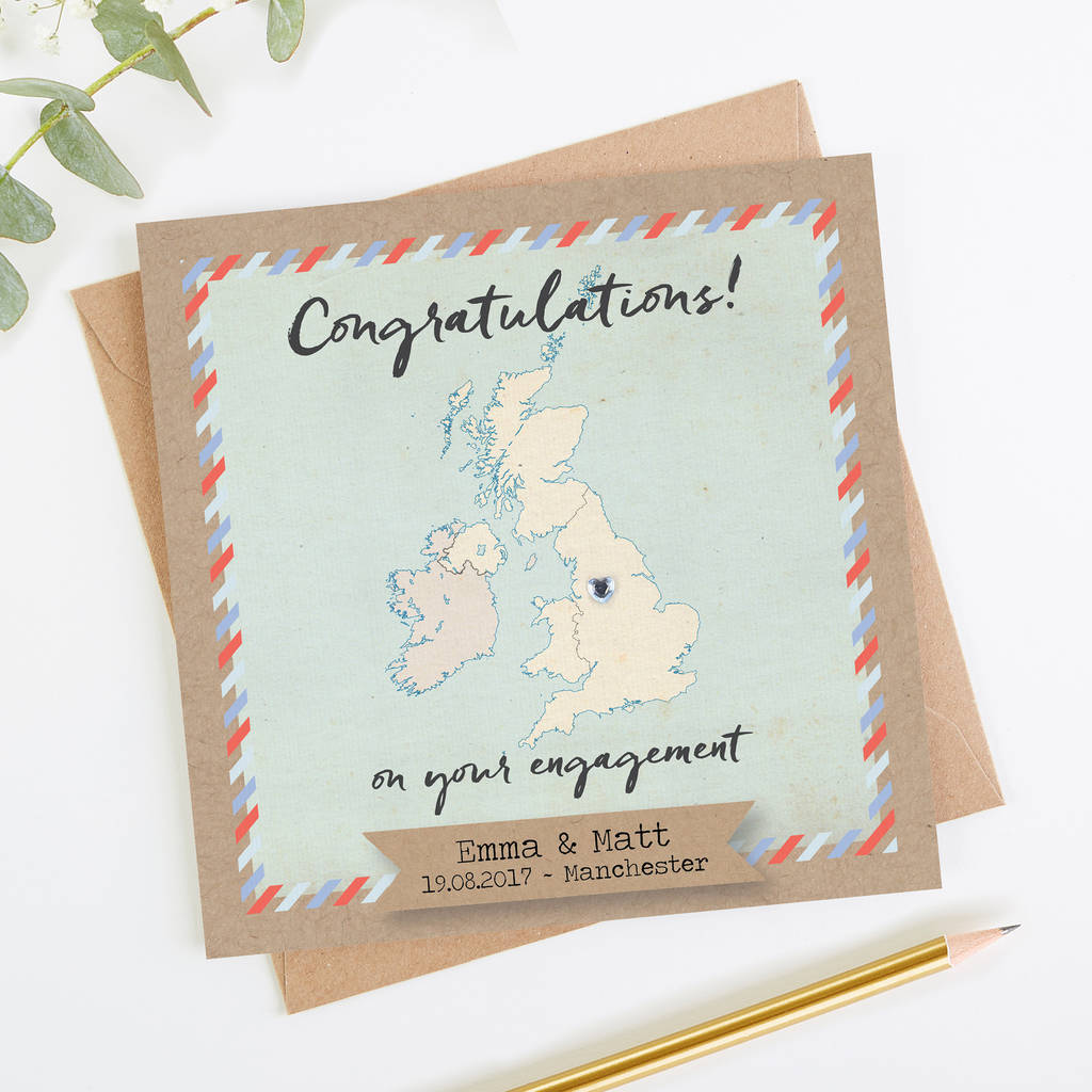 Map Engagement Card Personalised United Kingdom