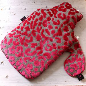 Hot Water Bottle Luxury Leopard Pink Velvet - hot water bottles & covers