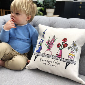 Grandchildren Birth Flowers Personalised Cushion
