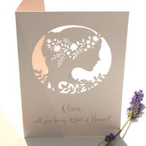 Boho Maid Of Honour Personalised Card - be my bridesmaid?