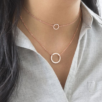 Layered Rose Gold Circle Necklace