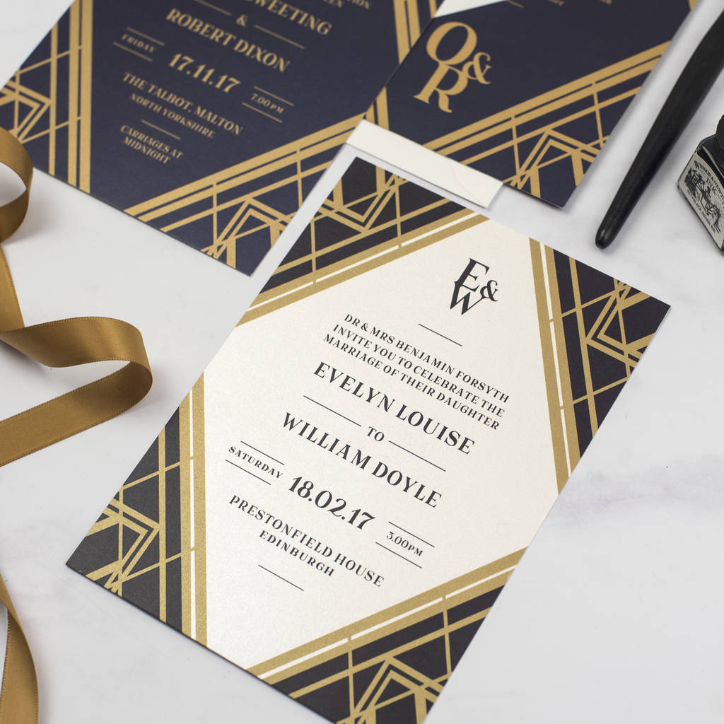 art deco gatsby wedding invitation by jack and jess ...