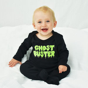 'Ghost Buster' Halloween Baby Romper Sleepsuit - summer sale