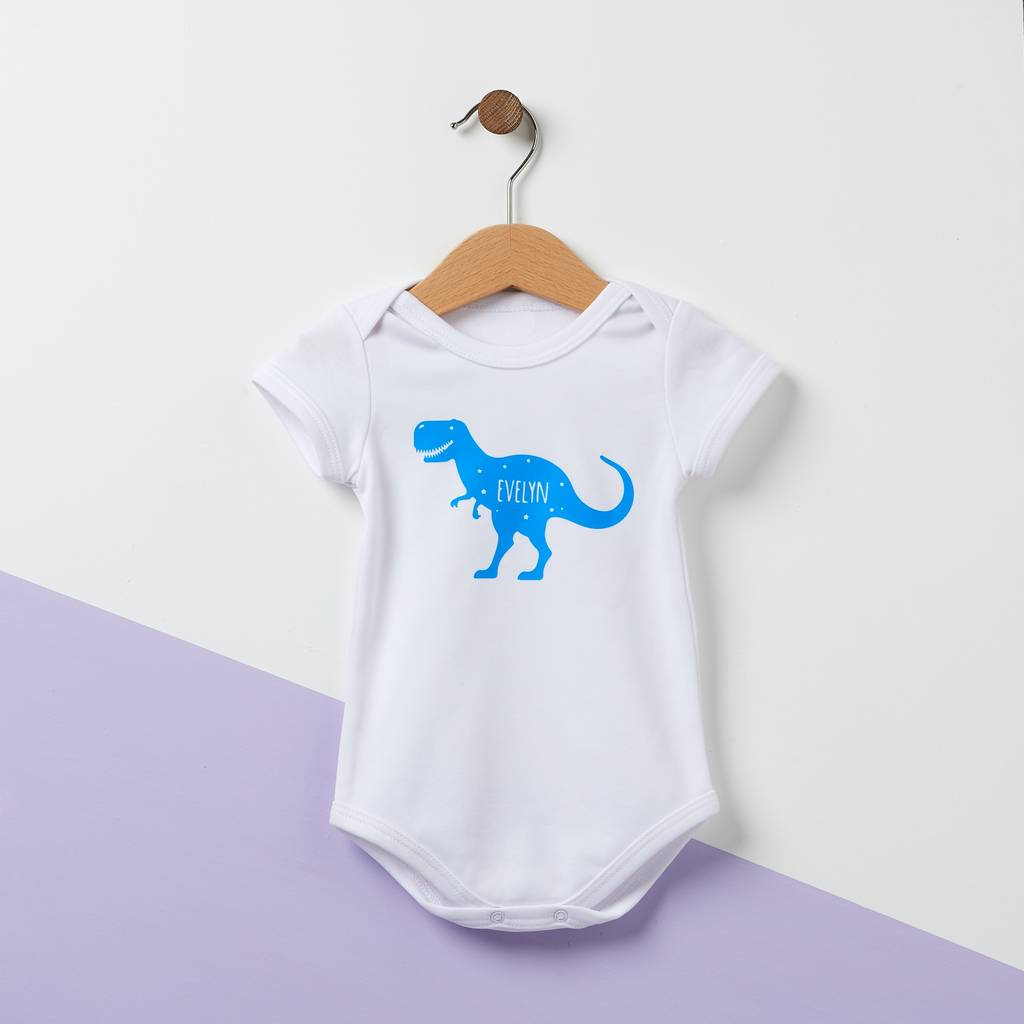 45614c8d8 t rex personalised dinosaur kid's t shirt by owl & otter ...