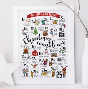 Personalised Christmas Advent Calendar Print - christmas posters & prints
