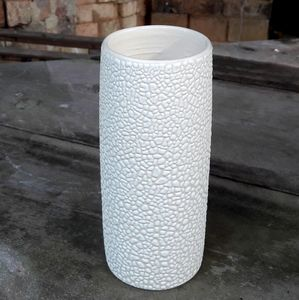 Stoneware Vase In Textured White Bead Glaze - flowers, plants & vases