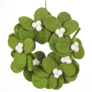 Handmade Felt Mistletoe Mini Wreath