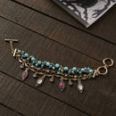 Antique Gold And Aqua Charm Bracelet