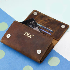 Personalised Leather Trifold Wallet And Smartphone Case - more