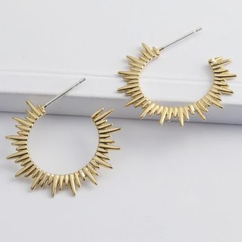 Gold Sunbeam Hoop Earrings