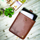 Personalised Leather Stockholm iPad Sleeve/Case Brown