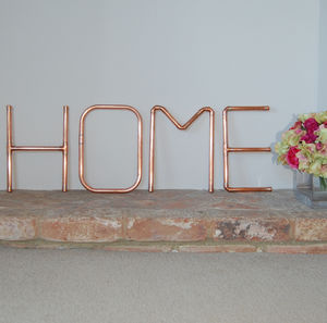 Copper Pipe Home Wall Letters