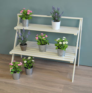 Large Wooden Plant Stand In Cream