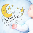 Personalised Baby Fleece Blanket Any Name Moon