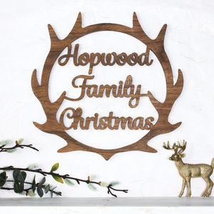 Personalised Christmas Wooden Wreath Antlers