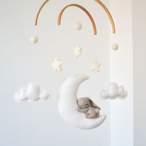 Sleeping Bunny With Moon And Stars Baby Mobile