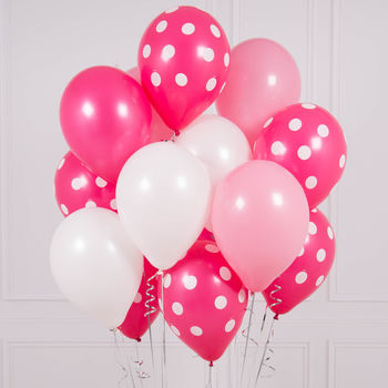 Pack Of 14 Pink Polka Dot Party Balloons