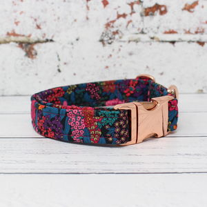 Beatrix Rose Gold Liberty Fabric Dog Collar