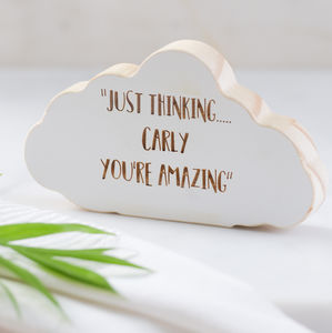 Personalised Wooden Thought Cloud Keepsake - gifts for mothers