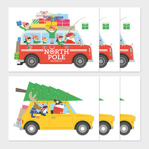 Pack Of Six Vehicle Christmas Cards - christmas card packs