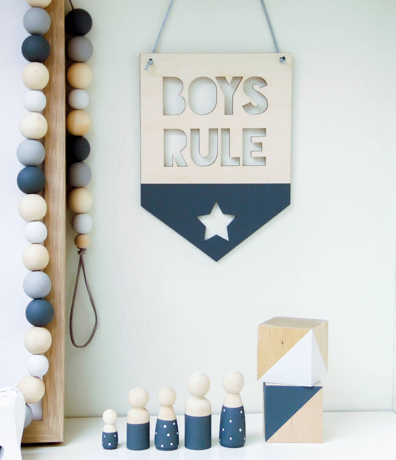Swell Girls Boys Rule Wooden Nursery Hanging Flag Pennant Home Interior And Landscaping Ologienasavecom
