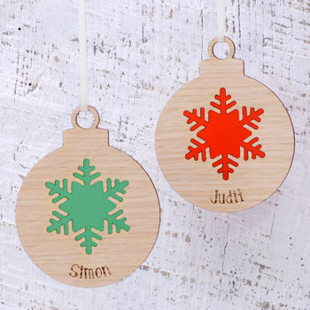 Personalised Wooden Snowflake Christmas Bauble