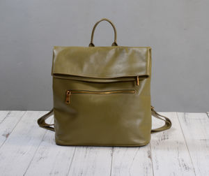 Grain Leather Fold Over Backpack - whatsnew