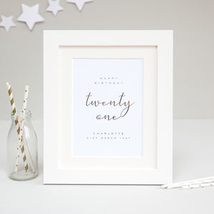 21st Birthday Personalised Foil Print