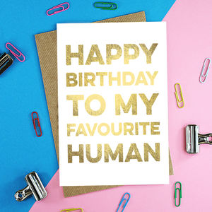 Gold Foil Favourite Human Birthday Card - birthday cards
