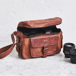 Personalised Leather Camera Bag - personalised gifts