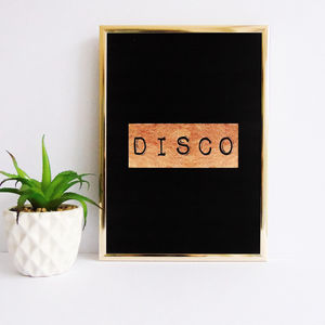 Gold Disco Typography Print