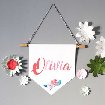 Floral Name Wall Hanging